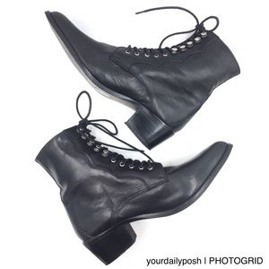ASOS black leather lace-up roper granny boots 6